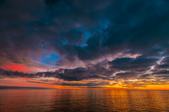 Colorful dramatic sunset above Glenelg Beach Royalty Free Stock Photography