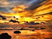 Colorful dramatic sunset. With beautiful clouds Royalty Free Stock Photography