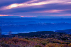 Colorful Dramatic Sunset Sky over the City of Moab Fall Colors Royalty Free Stock Photography