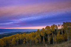 Colorful Dramatic Sunset Sky over the City of Moab Fall Colors Royalty Free Stock Images