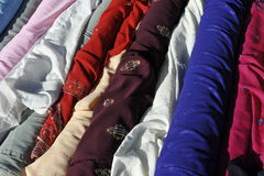 Colorful Drapery. Colorful  drapery trade at a street stall Royalty Free Stock Photos
