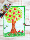 Colorful drawing: apple tree Royalty Free Stock Photos