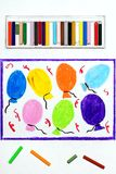 Drawing: Balloons and confetti