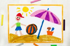 Drawing: beach vacation. Smiling boy with colorful ball and sun umbrella. Colorful drawing: beach vacation. Smiling boy with colorful ball and sun umbrella stock images