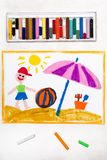 Drawing: beach vacation. Smiling boy with colorful ball and sun umbrella. Colorful drawing: beach vacation. Smiling boy with colorful ball and sun umbrella stock image