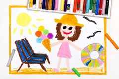 Drawing: beach vacation. Smiling girl with ice cream, lifebuoy and deck chair. Colorful drawing: beach vacation. Smiling girl with ice cream, lifebuoy and deck royalty free stock image