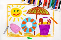 Drawing: beach vacation. Smiling sun, ice cream, lifebuoy and sun umbrella. Colorful drawing: beach vacation. Smiling sun, ice cream, lifebuoy and sun umbrella stock photos