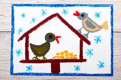 Colorful Drawing Bird Feeder Winter And Two Cute Birds For The