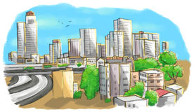 Colorful drawing of city skyline Royalty Free Stock Images