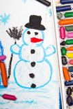 Drawing: Happy snowman Royalty Free Stock Photography