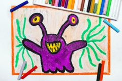 Drawing: Cute purple monster with funny eyes. Colorful drawing: Cute purple monster with funny eyes stock images