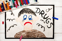 Colorful drawing: Drug addicted person. Sad and depressed man Stock Image