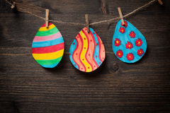 Colorful drawing of Easter eggs Stock Photo