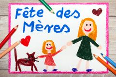 French Mother`s Day card with words: Mother`s day. Colorful drawing - French Mother`s Day card with words: Mother`s day Stock Photo