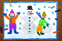 Drawing: Happy children making a snowman, winter time Stock Photography