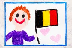 Colorful drawing: Happy man holding Belgian flag. Flag of Belgium. And smiling boy royalty free stock photos