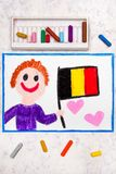 Colorful drawing: Happy man holding Belgian flag. Flag of Belgium and smiling boy stock images