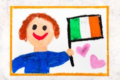 Colorful drawing: Happy man holding Irish flag. Flag of Ireland. And smiling boy royalty free stock image