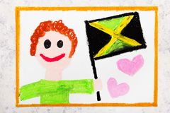 Colorful drawing: Happy man holding Jamaican flag. Flag of Jamaica and smiling boy stock image