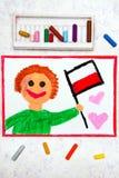 Colorful drawing: Happy man holding Polish flag. Flag of Poland and smiling boy stock image