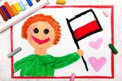 Colorful drawing: Happy man holding Polish flag. Flag of Poland and smiling boy stock photo
