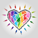Colorful drawing heart pencils set vector illustration