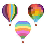 Colorful Drawing Hot Air Balloons Set. With different patterns on white background isolated vector illustration Royalty Free Stock Photos