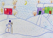 Colorful drawing of houses standing on snowy hills and snowfall stock images