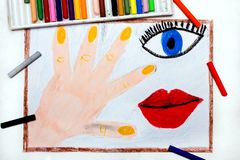 Drawing: Human body parts, hand, eye and mouth. Colorful drawing: Human body parts, hand, eye and mouth stock photo