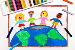 L drawing: International children of the world