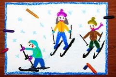 Drawing: Kids learning to ski Royalty Free Stock Image