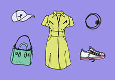 Colorful drawing of look book trendy collection of summer 2017 Stock Photography