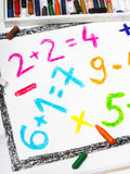 Colorful drawing: math operations. Colorful drawing and crayons : math operations Royalty Free Stock Photography