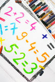 Colorful drawing: math operations. Colorful drawing and oil pastels drawing: math operations Stock Images