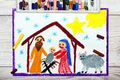 Colorful drawing: Nativity scene. Christmas time. Photo of colorful drawing: Nativity scene. Christmas time Stock Photo