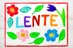 Colorful drawing: Nederlands words LENTE Spring Royalty Free Stock Photos