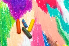 Colorful drawing and oil pastels crayons. Photo of colorful drawing and oil pastels crayons, texture for background. Selective focus Stock Images