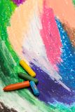 Colorful drawing and oil pastels crayons,. Photo of colorful drawing and oil pastels crayons, texture for background. Selective focus Stock Image