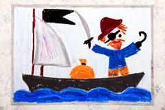 Colorful drawing: Old Pirate with a patch over his eye, hook and cap on the pirate ship. Colorful drawing: Old Pirate with a patch over his eye, hook and cap stock photos