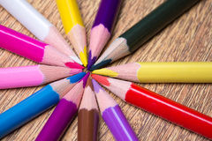 Colorful drawing pencils on wooden table Royalty Free Stock Photography