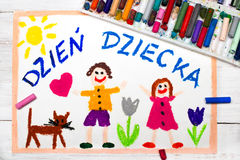 Colorful drawing: Polish Children`s day Royalty Free Stock Photography