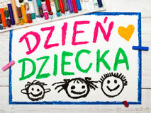 Colorful drawing: Polish Children`s day card Royalty Free Stock Images