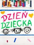 Colorful drawing: Polish Children`s day card Stock Photos