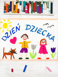 Colorful drawing: Polish Children`s day card Royalty Free Stock Image