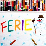 Drawing: Polish words FERIE significant winter vacations Royalty Free Stock Image
