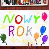 Drawing: Polish words NEW YEAR Stock Photos
