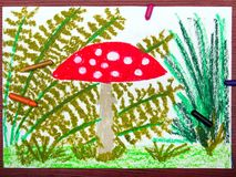 Drawing: Red toadstool in the grass Royalty Free Stock Photo