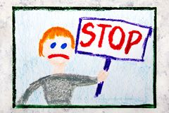 Drawing: Sad boy holding a STOP sign in his hand royalty free stock photos