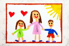 Colorful drawing: Single parenting. Smiling family with mother and her two kids. Daughter and son stock photography