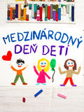Colorful drawing. Slovak Children`s day card. Colorful drawing. Children`s day card with Slovak words Children`s day royalty free stock image